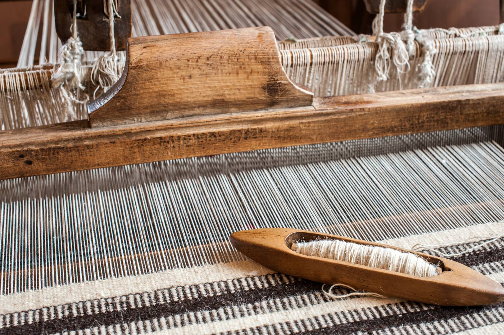 All of the prototypes are currently being handmade by Thompson on standard weaving looms.