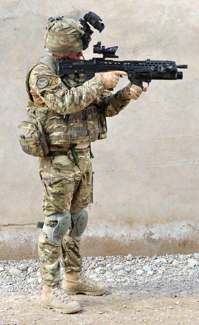 Soldier with the 2nd Battalion, The Royal Highland Fusiliers in Afghanistan wearing full combat dress.