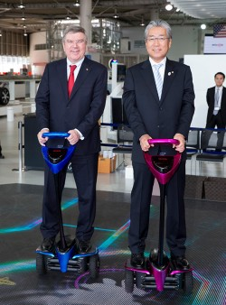 The Winglet, Toyota's personal transport assistance device, being used by Toyota President Akio Toyoda and IOC President Thomas Bach - image courtesy of the IOC