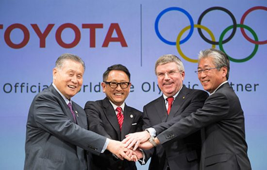 Toyota joined as a major Olympics sponsor at an announcement in Tokyo attended by Toyota President Akio Toyoda (second from left) and IOC President Thomas Bach (second from right) - image courtesy of the IOC.