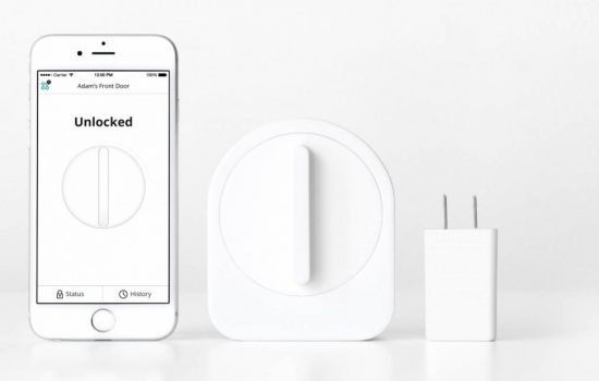 The Sesame Smart Lock featuring the app and wifi connector - image courtesy of Sesame
