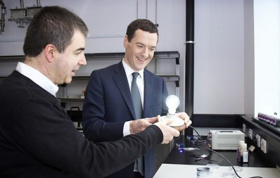 Sir Kostya Novoselov (left, one of two graphene Nobel laureates) demonstrating the graphene lightbulb developed by the University of Manchester to Chancellor George Osborne. Image courtesy of the University of Manchester