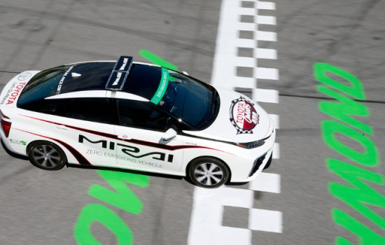 The 2016 Toyota Mirai will be the first hydrogen fuel cell vehicle to pace a NASCAR race in the Toyota Owners 400 NASCAR Sprint Cup Series race at Richmond International Raceway on Saturday night, April 25.