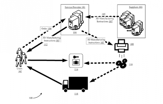 Amazon's 3D printing truck patent diagram 2 - image courtesy of US Patent & Trademark Office