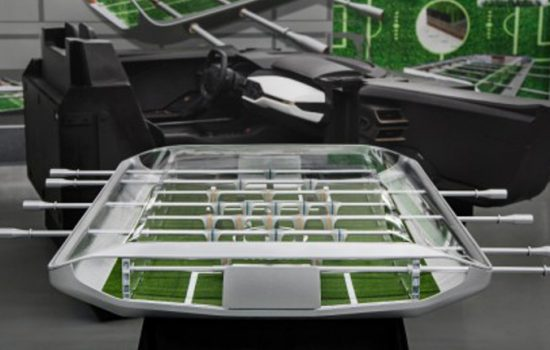 The Ford foosball table featuring living grass.