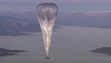 A Google Project Loon balloon in flight. Image courtesy of Google.