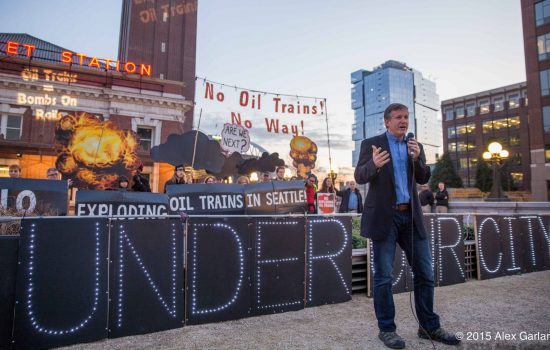 Campaigners rally in Seattle against oil trains travelling underneath the city - image courtesy of Alex Garland via Flickr.