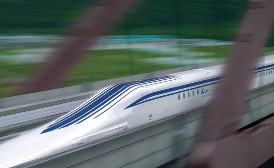 A rendering of the experimental maglev train moving at full speed. Image courtesy of Central Japan Railways.