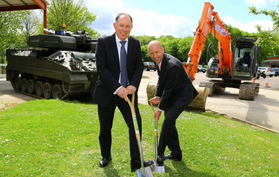 Alan Lines, MD and VP (Lockheed Martin) and Richard Carr, chief executive (Central Bedfordshire Council) break ground.