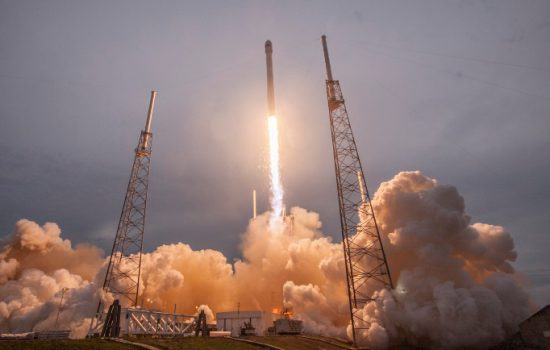 A SpaceX Falcon 9 launches into space. Image courtesy of SpaceX.