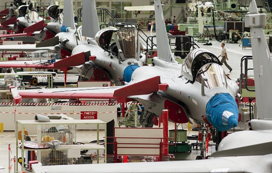The final assembly line for the Rafale at the Dassault Aviation facilities of Bordeaux-Mérignac, France - image courtesy of Dassault Aviation.