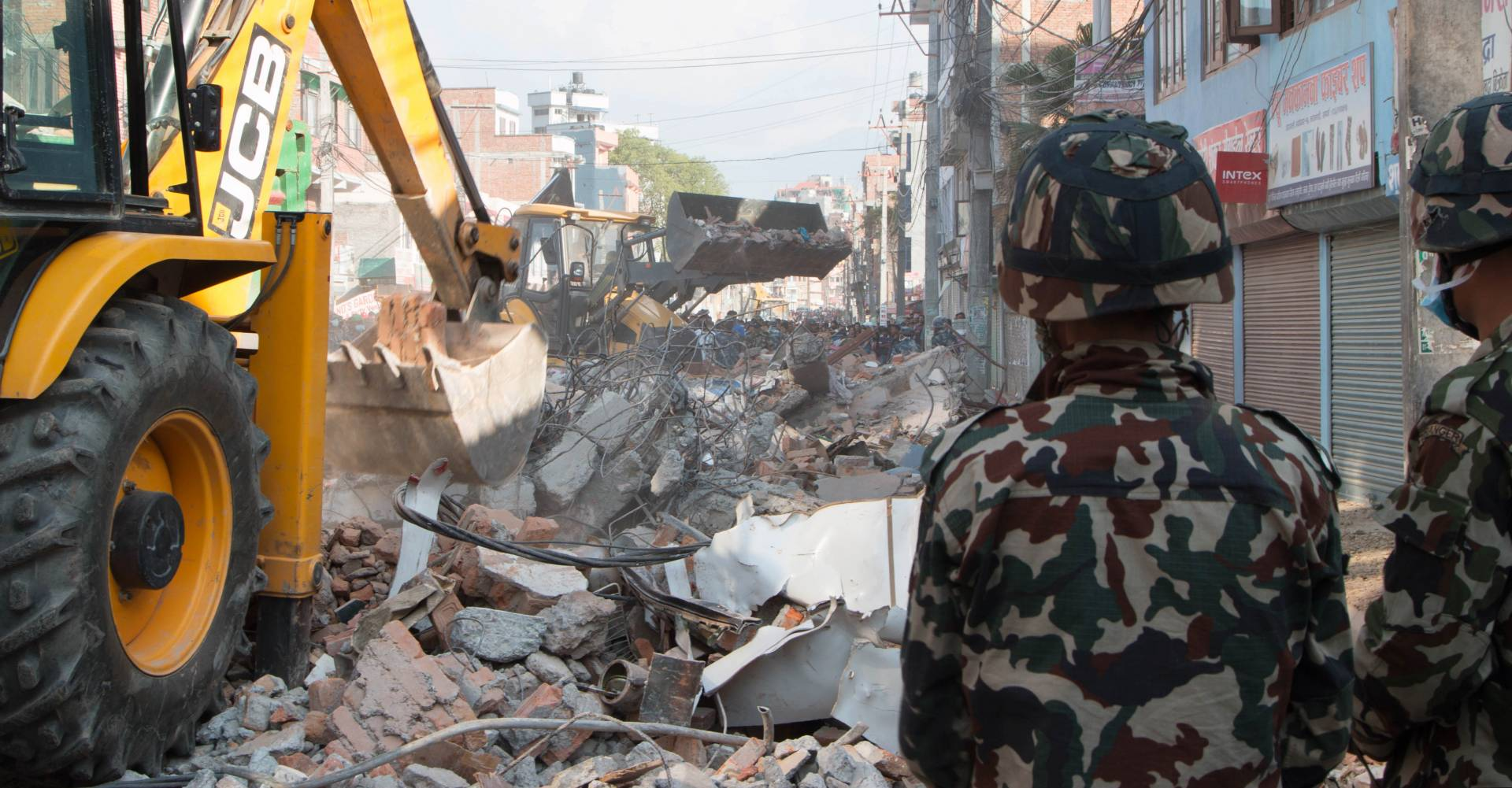 JCB donates machinery to help with effors to clean up after the second Nepal earthquake.
