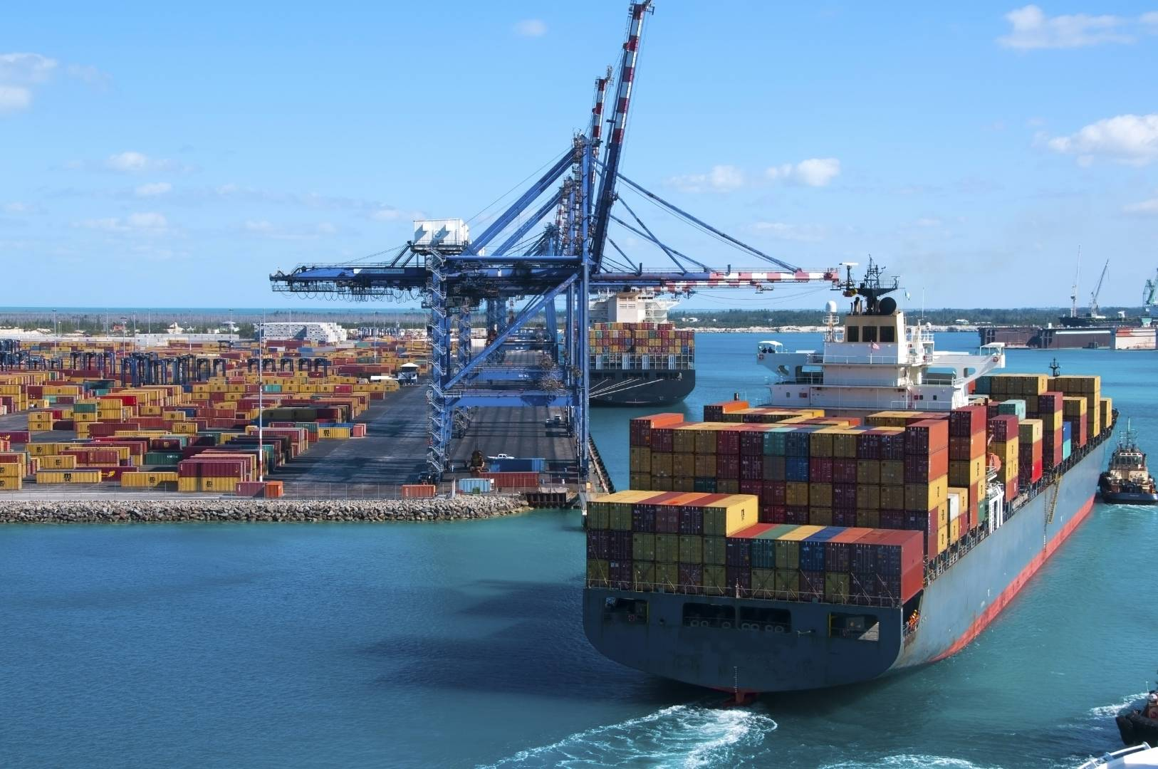 Cargo Ship Docks Crane Export