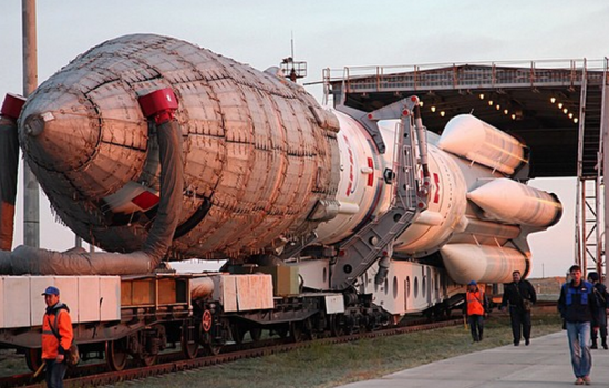 The ill-fated Proton-M Rocket together with the spacecraft MexSat-1 prior to launch from the Malonur Cosmodrome in Kazakhstan - image courtesy of Roscosmos