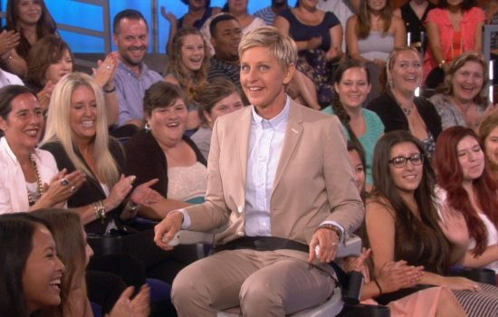 Ellen Degeneres showcases an Acorn Stairlift on her talk show - image courtesy of Ellen and Youtube