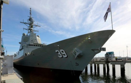 HMAS Hobart, the first ship in the Air Warfare Destroyer program. Image courtesy of the Australian Navy.