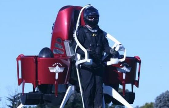 The Martin Jetpack can fly for up to 30 minutes and reach an altitude of 1,000 metres - image courtesy of Martin Aircraft.