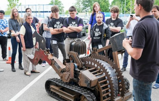 The programme focused on getting young people to think about how to build and control robots, culminating in a sci-fi style robot combat challenge.