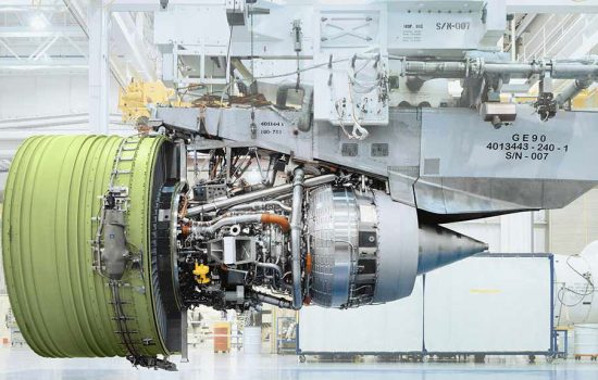 The GE90 engine, which will contain 3D printed parts. Image courtesy of GE Aviation.