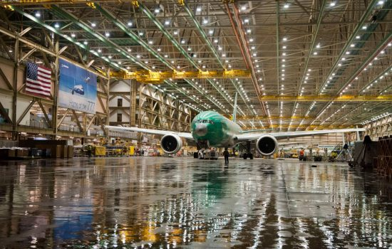 In January 2013, under the stewardship of CEO W. James McNerney, Jr., Boeing rolled out the first 777 to be built at the increased production rate of 8.3 per month, or 100 airplanes per year - image courtesy of Boeing