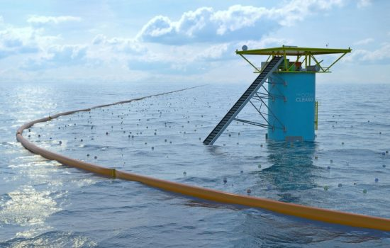The Ocean Cleanup's floating structures use currents to clean the world's oceans. Image courtesy of The Ocean Cleanup.
