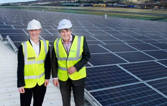 Pictured on the rooftop solar installation at Bombardier's wing facility are Michael Ryan, Vice President and General Manager, Bombardier Belfast and Michael Burke, Managing Director, SALIIS Renewables - image courtesy of Bombardier.