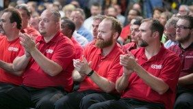 GM employees react to the announcement Monday, June 22, 2015, that GM will invest $245m in the Orion Assembly Plant in Orion Township, Michigan, to support the launch of a new vehicle program - image courtesy of GM.