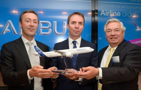Fabrice Brégier, Airbus president and CEO, Jozsef Varadi, Wizz Air and John Leahy CEO, Airbus commercial director.
