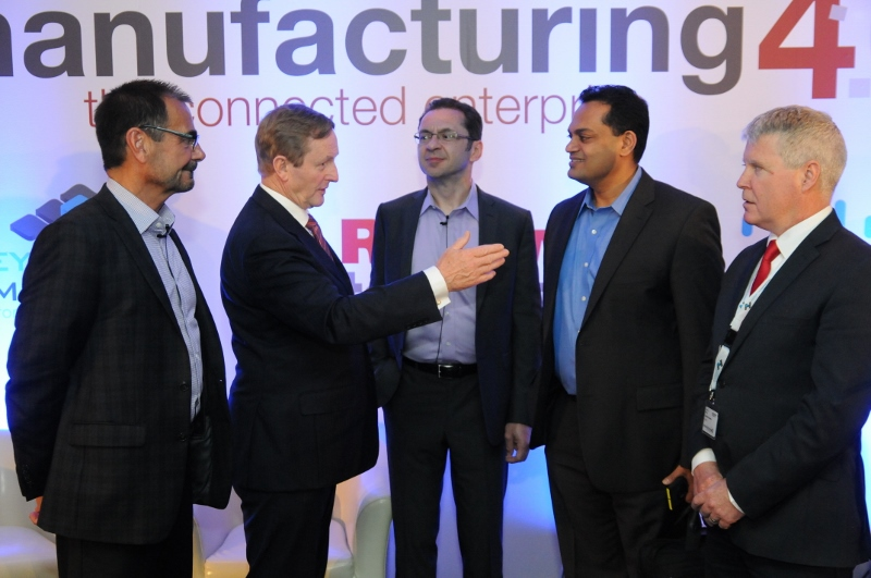 (L to R) John Nesi, vice president global market development (Rockwell Automation); Enda Kenny, Taoiseach (Prime Minister) of Ireland; Maciej Kranz, VP corporate technology group (CISCO Systems); Sanjay Ravi, WW MD, discrete manufacturing industry (Microsoft Corporation), and Dominic Molloy, marketing director EMEA (Rockwell Automation).