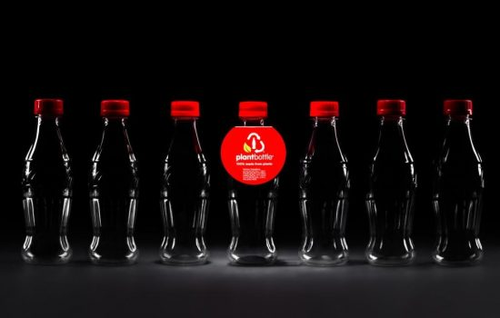 The Coca Cola PlantBottle produced from 100 renewable resources. Image courtesy of The Coca Cola Company.