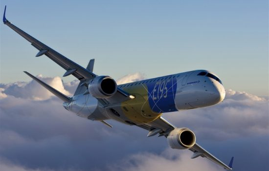 An Embraer E195 passenger jet. Image courtesy of Embraer.