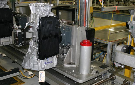 The one millionth TorqueFlite 845RE eight-speed automatic transmission moves down the assembly line at the Fiat Chrysler Kokomo Transmission Plant in Indiana - image courtesy of FCA.