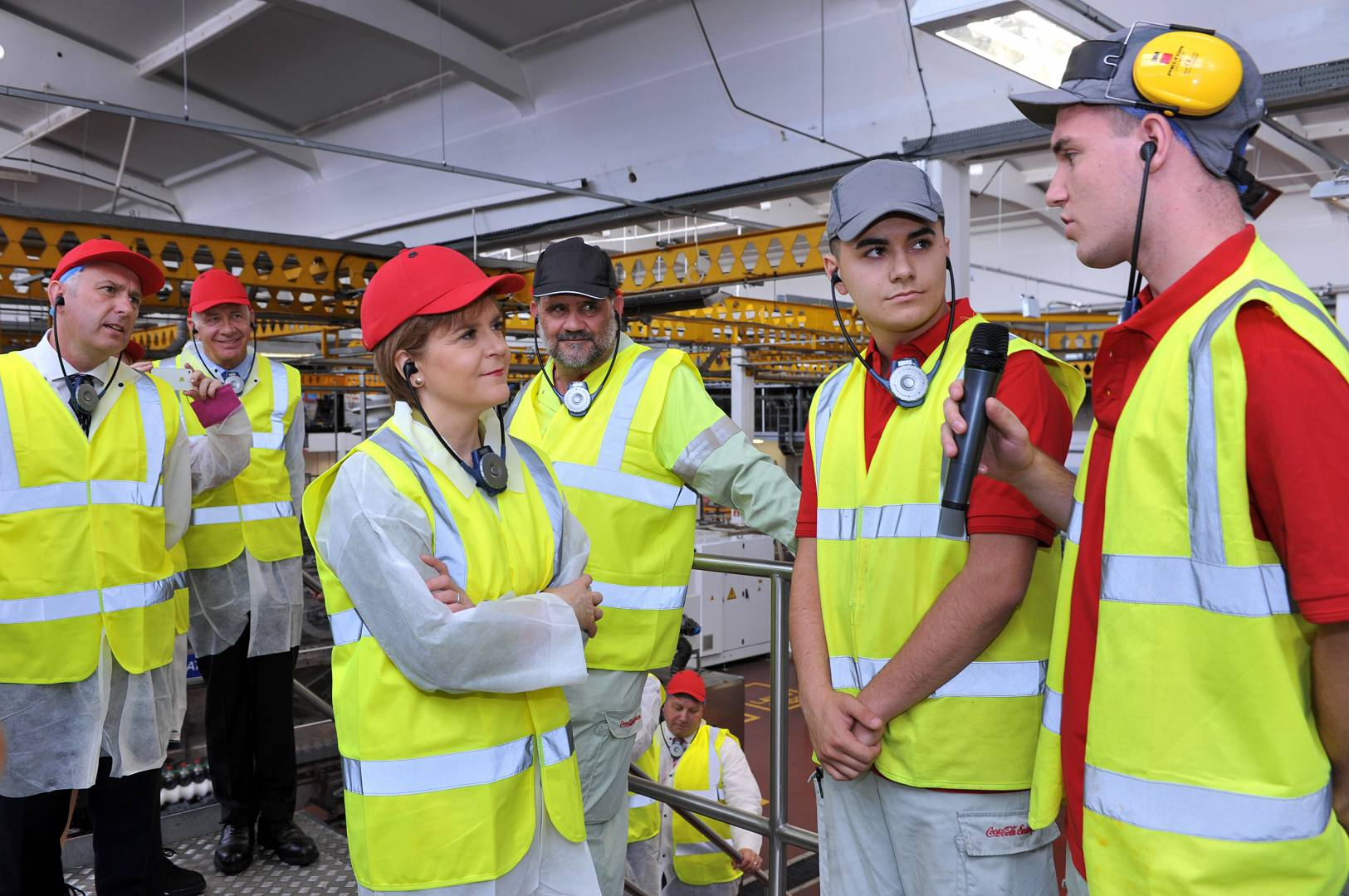 First Minister of Scotland Nicola Sturgeon meets local staff at CCE's East Kilbride factory.