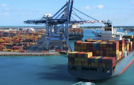 Cargo Ship Docks Exports Crane Export