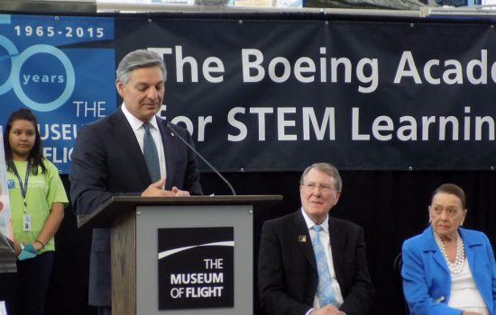 President and CEO of Boeing Commercial Airplanes, Ray Conner, addresses the crowd at The Museum of Flight. Image courtesy of The Museum of Flight