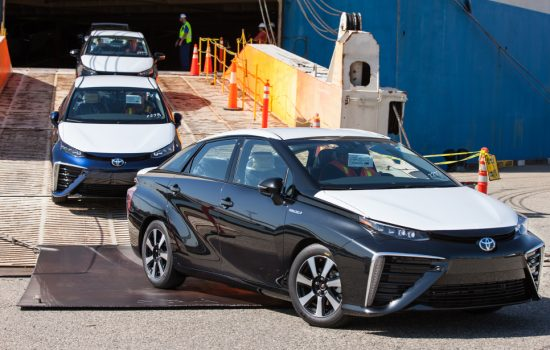 The 2016 Toyota Mirai Fuel Cell Sedan arriving in the US - image courtesy of Toyota.