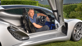 Divergent Microfactories CEO Kevin Czinger with his Blade prototype 3D printed car - image courtesy of Divergent Microfactories.