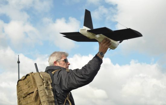 Blue Bear iSTART fixed-wing UAV, being launched by Gavin Goudie, Operations Director) copy