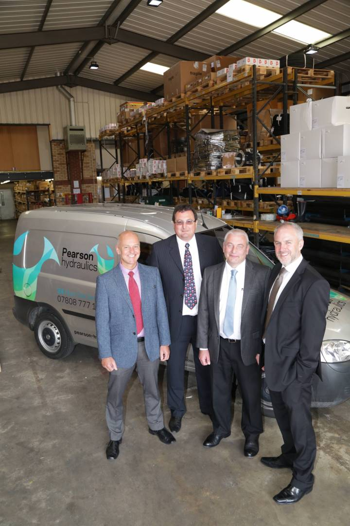 Paul Rushby, sales director; Rick Dring, managing director; Ian Smith, financial director (all Pearson Hydraulics) and David Burgess, business development director in Specialist and Acquisition Finance (Clydesdale Bank's Business and Private Banking Centre in Lincoln).