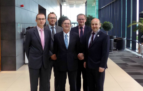 (L to R) Trevor Ness, senior vice president, global sales and marketing (IPG); Steve Statham, business development manager; Clive Hickman, chief executive; Peter Corby, industrial partnership manager, (all MTC), and Mark Thompson, director of sales and service (IPG).