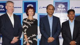 Dennis Swanson, vice president, Boeing Defense, Space and Security, India; Shelley Lavender, president, Boeing Military Aircraft; Sukaran Singh, managing director and chief executive officer, Tata Advanced Systems, and Pratyush Kumar, president, Boeing India, at the signing ceremony in Hyderabad on July 15