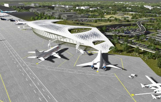 The proposed Houston spaceport could be used to launch micro satellites, train astronauts, conduct zero-gravity experiments and manufacture spacecraft - image courtesy of HAS