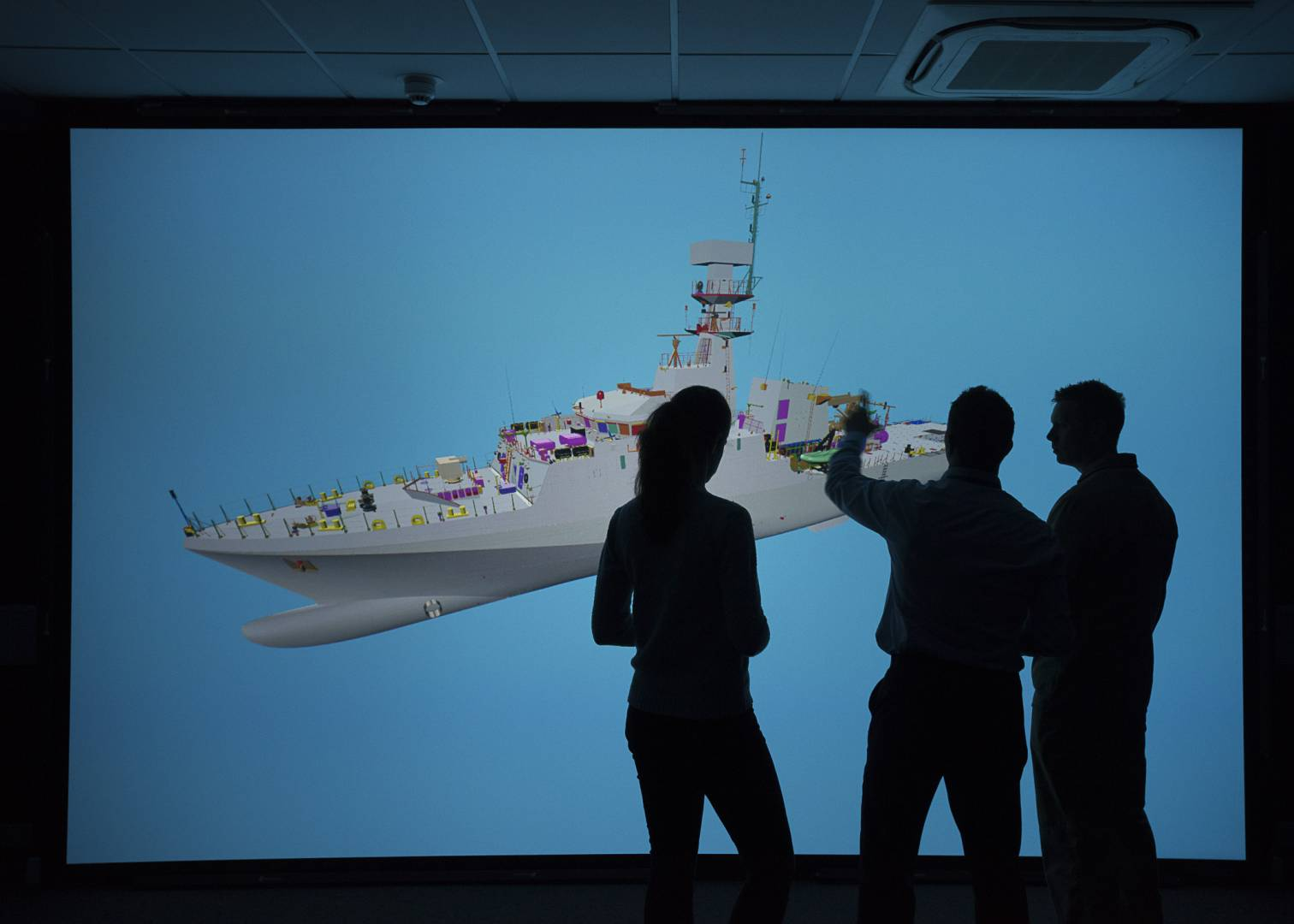 Visualisation room at BAE Systems in Govan, Glasgow.