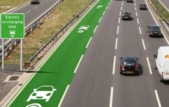 Electric Vehicles -An artist's rendition of an electric highway. Image courtesy of Highways England.