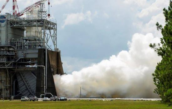 Nasa tested one of the new generation RS-25 rockets on July 17, 2015, including a period of firing at 109 per cent of the engine's rated power - image courtesy of Nasa.