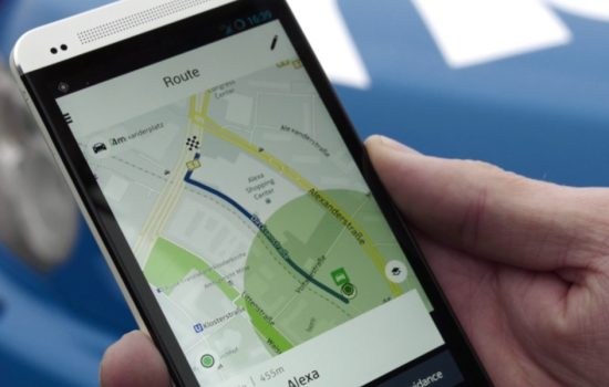 A mobile phone running Nokia's HERE Maps. Image courtesy of HERE.