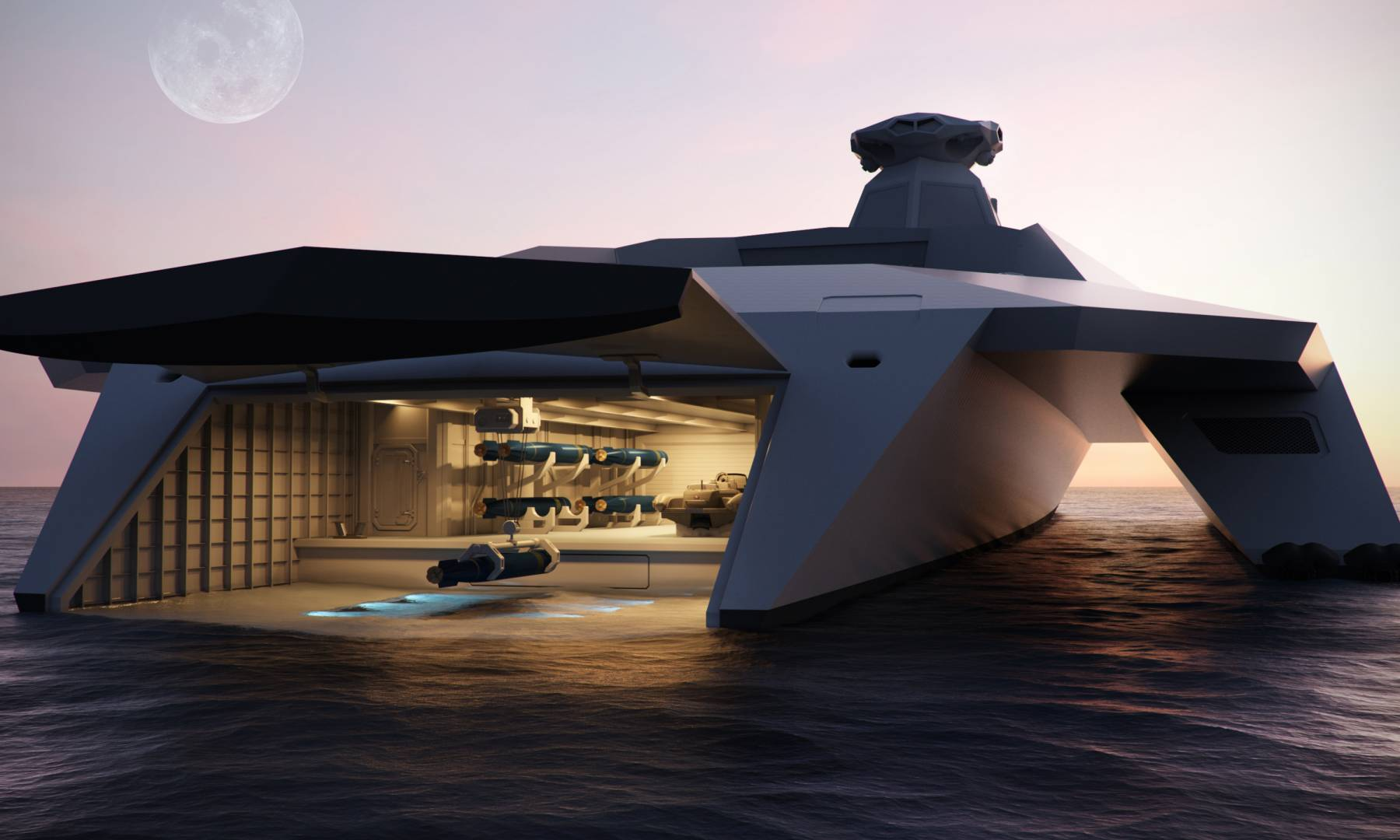 Startpoint Dreadnought T2050 Warship Transom Garage View (image courtesy of Startpoint).
