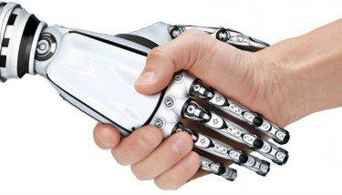 Robot Hand Shaking Human Hand