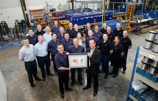 The Alloy Wire team celebrate securing the OHAS 18001 and ISO 14001 quality accreditations.