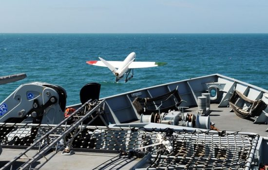 A 3D-printed aircraft flies from a Royal Navy Ship. Image courtesy of the Ministry of Defense